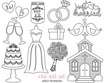 Just Married, Marriage, Wedding Day - Cute Digital Stamps, Line Art  - Commercial Use, Instant Download