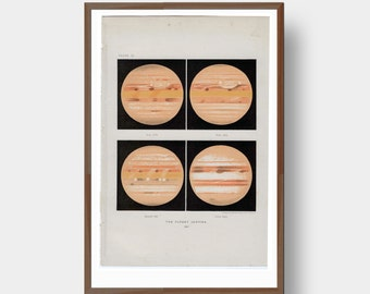 The Planet Jupiter 1897 Vintage Astronomy Space Art Print Planet Graphic Science Geek Gift Wall Art