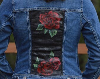 Rose Painted Denim Jacket