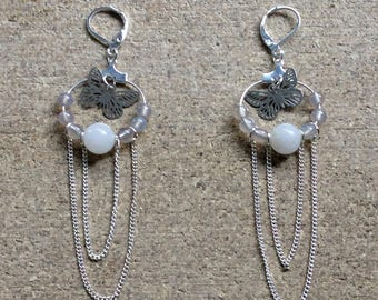 Silver Butterfly Charm Fashion Earrings with Glass Bead and Chain Swagger Detail