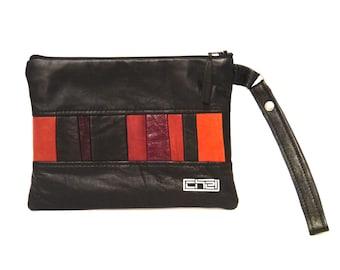 black Leather Clutch/ Red and black bag/ Patchwork leather handbag/geometric clutch/ Statement Bag/ black evening bag/One of a kind.