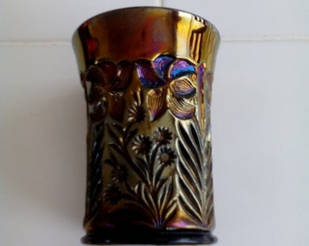 Carnival Glass Tumbler - Tiger Lily