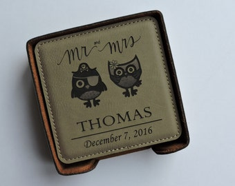 Mr & Mrs Wedding Anniversary Gift ( OWL DESIGN) Leather Coasters Set of 6 Personalized With Family Name and Established Date