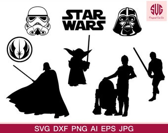 Star wars silhouette - Star wars ClipArt - Star wars SVG , Eps, Dxf, and Jpeg Format for Cricut and Silhouette, Starwars