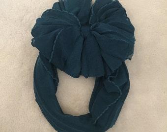 Teal Ruffle Messy Bow Headband