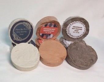Wet Shaving Soaps for Men|3.0 - 3.3 oz | Bay Rum | Cedarwood | Patchouli | Sensuous Sandlewood.