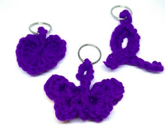 Crohn's and Colitis Donation, Crochet Key Chains, Purple Heart, Butterfly, Awareness Ribbon, Take Steps