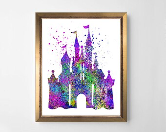 Princess castle print, watercolor Princess castle, watercolor nursery print, watercolor print,  nursery castle, Princess castle printable
