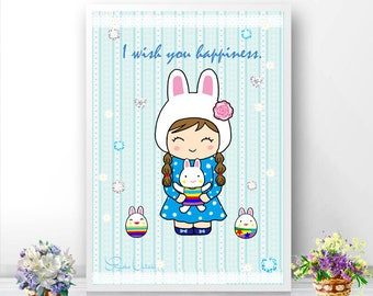 Happy Easter! I wish you happiness. Nursery and kids Wall Art Poster. Room decor.