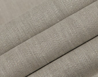 Belgium Linen Fabric by the yard Herringbone Oatmeal Color