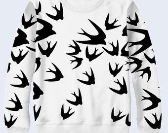 Swallows Sweatshirt, Minimalist Womens Sweatshirt, Long Sleeve T Shirt Women, Birds Pullover, Black and White Sweater