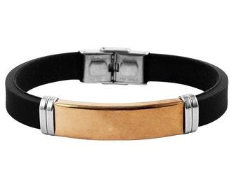 Identity bracelet ID stainless steel bracelet wristband rubber diamond engraving 20 cm new