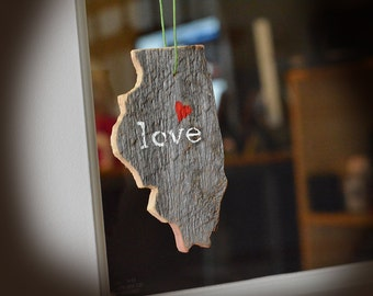 Rustic Custom Illinois Ornament - Holiday Illinois Ornament - Distressed Wood Illinois Ornament - Custom Illinois Ornament