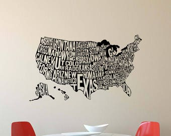 usa map wall decal united states names american office gift vinyl sticker home decor business poster