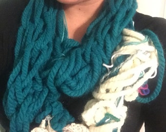 Teal and Cream Scrap Scarf