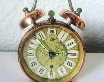 Vintage Mechanical ALARM CLOCK Japy. Twin bells. Made in France. PETER. 1970s. Copper chrome. French vintage !