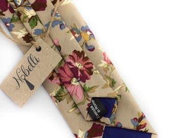 Floral tie, beige tie, mens ties, slim necktie, cotton tie, mens floral tie, floral print necktie, wedding tie, cotton tie floral skinny tie