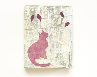 Mixed media cat art on small reclaimed wood block, abstract pink cat and birds, whimsical art, gift for cat lover