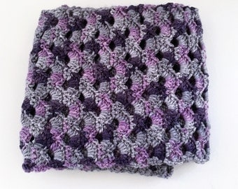 Pink, Gray, and Purple Scallop Scarf