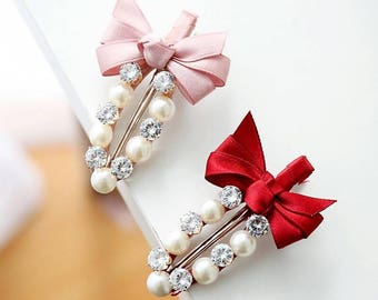 Very Darling Hair-Clip with Rhinestones and Pearls