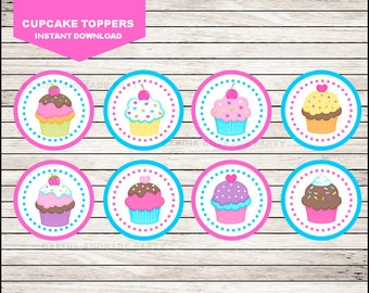 50 Off Sale Cupcakes Themed toppers instant download, Cupcakes Toppers , Cupcakes Party Toppers