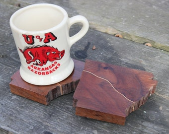 Arkansas Coasters/ Inlay Coasters/ Unique Coasters/ Custom Coasters/ Walnut Coasters/ Wood  Coaster Set/ Table Coasters/ Modern Coaster