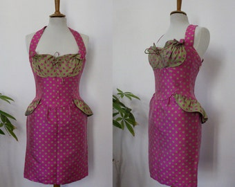 Cocktail dress, evening Christian Lacroix, paris, bustier, peplum, cross shoulder bare, pink and green polka dot vintage, T36, S