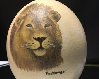 ON SALE Vintage Hand Painted Lion on Very Large Ostrich Egg