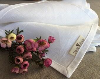 White eco linen dinner napkins-cloth napkins bulk-wedding napkins-Easter napkins-custom size flax napkins-spring Napkin Set-serving napkins