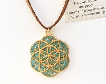 Turquoise and Gold Leaf Seed of Life Pendant