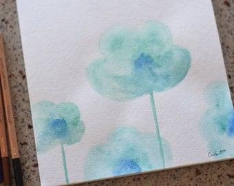 Growing Flowers Original Watercolor Painting
