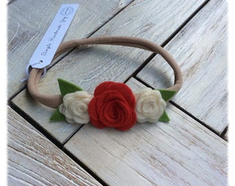 """The """"Charlotte"""" Headband   White and Red Rose Headband   Rose Headband   Baby Headband   Newborn Headband"""