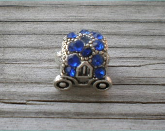 Blue European Bead Carriage, Jewelry Findings