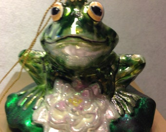Polonaise Frog bright green with a smile Glass in original bow