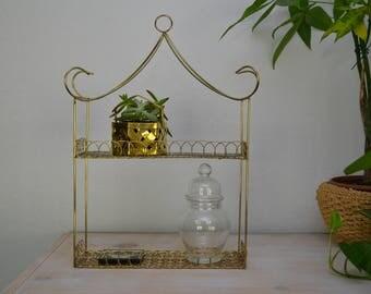 Vintage Brass Shelf Display Boho Glam Hanging Storage Rack