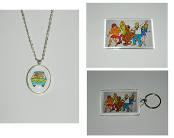 Scooby Doo Necklace Keychain Magnet or set