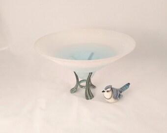 White Glass Bowl on Stand, Bird Feeder, Bird Bath, Candle Holder
