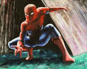 Spiderman painting - Spidey oil painting