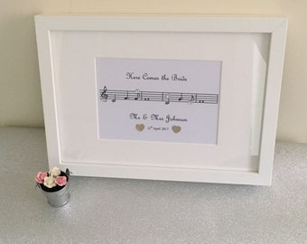Personalised 'Here Comes the Bride' Print and Frame