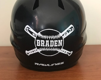Personalized Baseball Helmet Decal