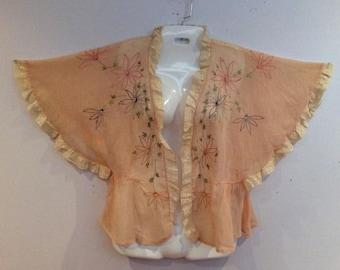 pink cotton floral embroidered bed jacket 1920's vintage