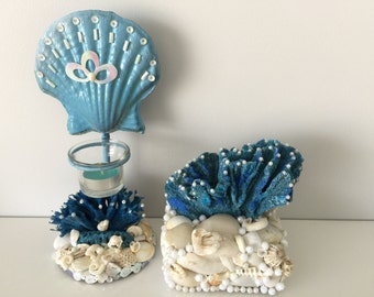Christmas Candle Holder, seashells decor, coastal, Marine, Nautical decor