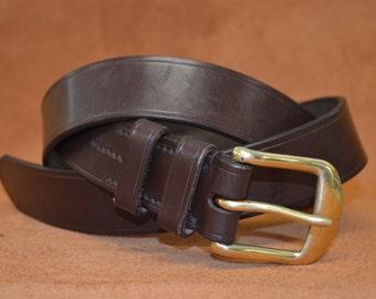 Leather Belt Handmade hand stitched (Dark Brown) 1.5 inches 38mm.