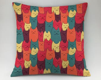 Cat pillow cover Decorative pillow Throw pillow cover cat pillow case kitten pillowcase kitty pillow case cat pattern pillow