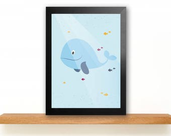 A4 Whale Poster Children's Room picture Kids poster