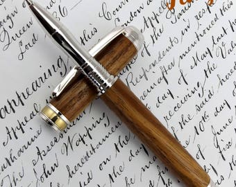 Asian Teak wood Maplehurst Roller Ball pen in Rhodium and Gold (1058)