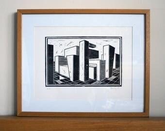Blockscape North - Original Lino Cut.