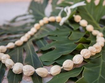 KUKUI NUT LEI - Natural Unpolished Kukui Nuts