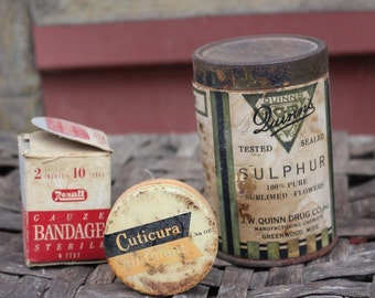 Vintage medicine tins, medicine tins, Antique Medicine Tins, Set of 3, Tablet Tins, Primitive Bange Box, Tin Boxes, Vintage Tin Boxes