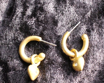 PE # 108 Valentine's Day Vintage Muted Gold Tone Hoop and Heart-Shaped Pendant Earrings